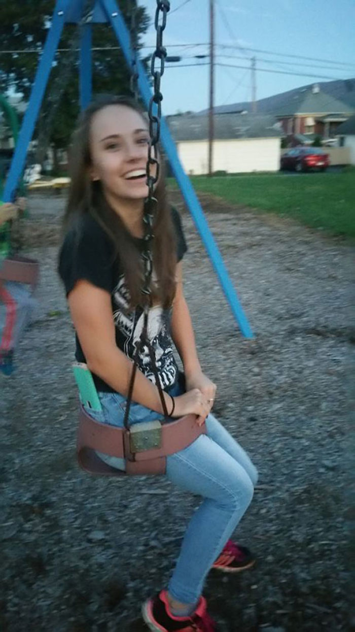 What Do You Do When One Of Your 16 Year Olds Gets Stuck In The Baby Swing At The Park?