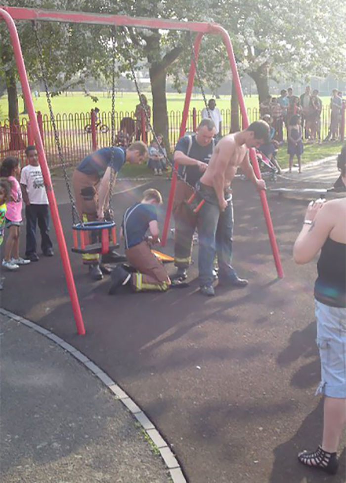Man Stuck In A Child Swing