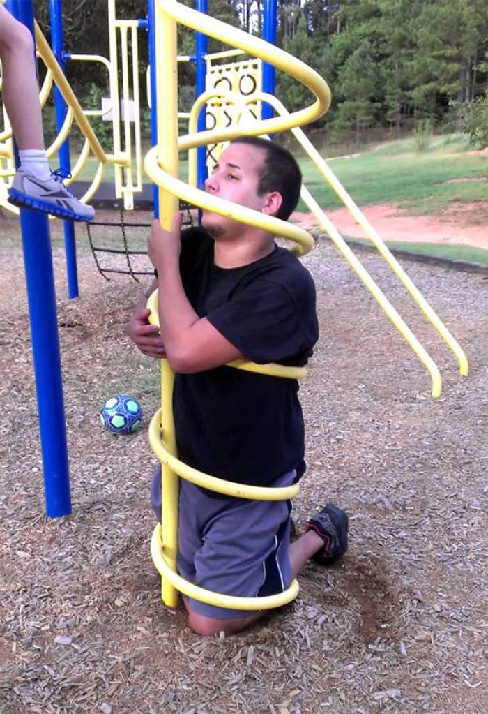 Man Trapped In Children's Playground